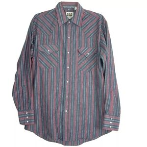 Ely Cattleman Pearl Snap Western Shirt Striped
